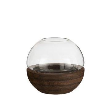 J -Line Vase Glass Round Two-piece Glass Wood - Dark Brown