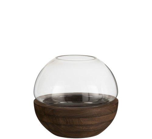 J -Line Vaas Glas Rond Tweedelig Glas Hout - Donkerbruin