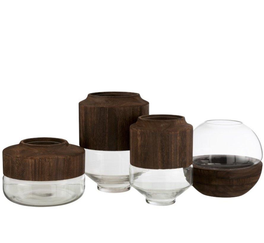 Vaas Glas Rond Tweedelig Glas Hout - Donkerbruin