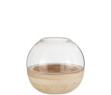 J -Line Vaas Glas Rond Tweedelige Glas Hout - Lichtbruin