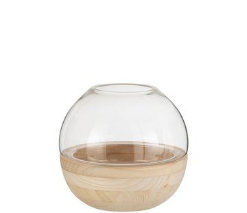 J -Line Vase Glass Round Two-piece Glass Wood - Light Brown