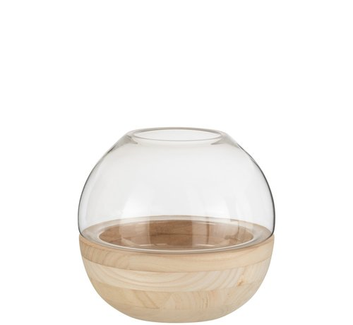 J -Line Vaas Glas Rond Tweedelig Glas Hout - Lichtbruin