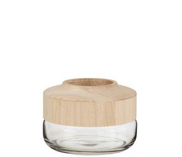 J -Line Vaas Glas Breed Tweedelig Glas Hout - Lichtbruin