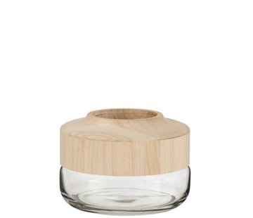 J -Line Vase Glass Wide Two-piece Glass Wood - Light Brown