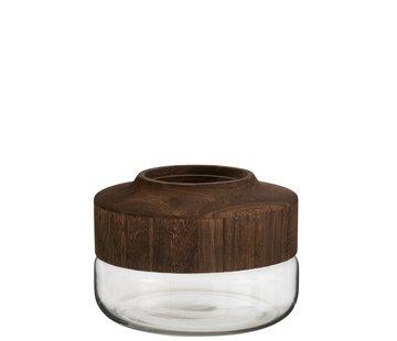 J -Line Vaas Glas Breed Tweedelig Glas Hout - Donkerbruin