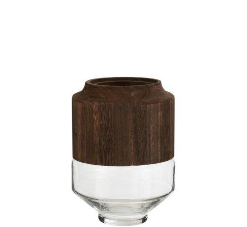 J -Line Vaas Glas Hoog Tweedelig Glas Hout Donkerbruin - Small