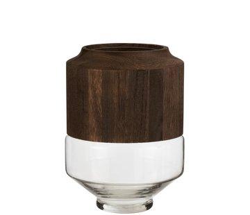 J -Line Vaas Glas Hoog Tweedelig Glas Hout Donkerbruin - Large