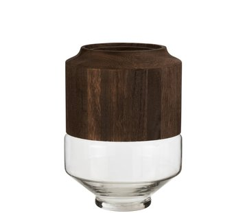 J -Line Vase Glass High Two-piece Glass Wood Dark Brown - Large