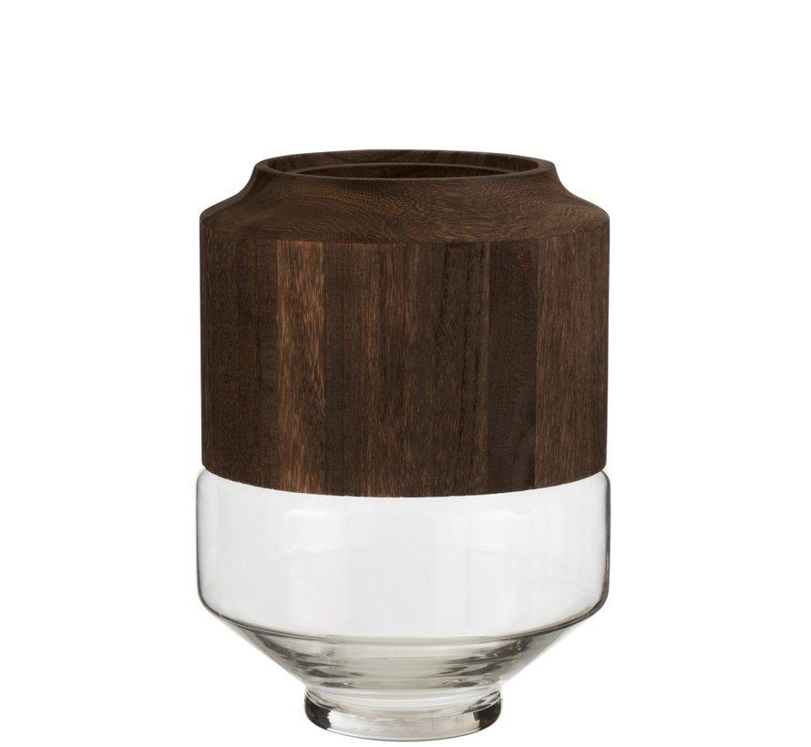 Vaas Glas Hoog Tweedelig Glas Hout Donkerbruin - Large