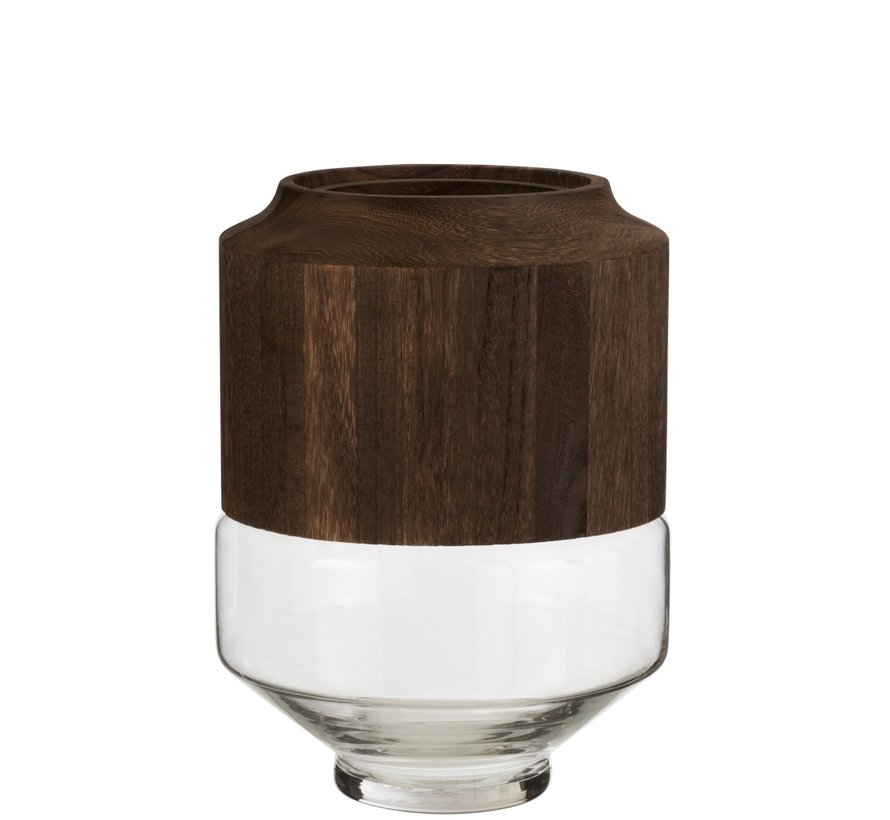 Vase Glass High Two-piece Glass Wood Dark Brown - Large