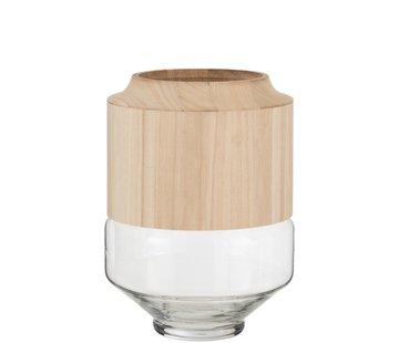 J -Line Vaas Glas Hoog Tweedelig Glas Hout Lichtbruin - Large