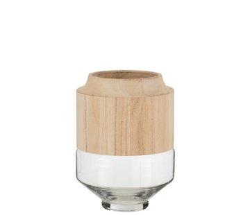 J -Line Vaas Glas Hoog Tweedelig Glas Hout Lichtbruin - Small