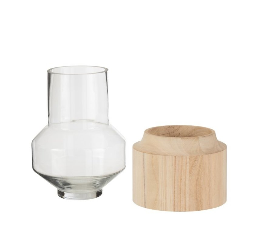 Vaas Glas Hoog Tweedelig Glas Hout Lichtbruin - Small