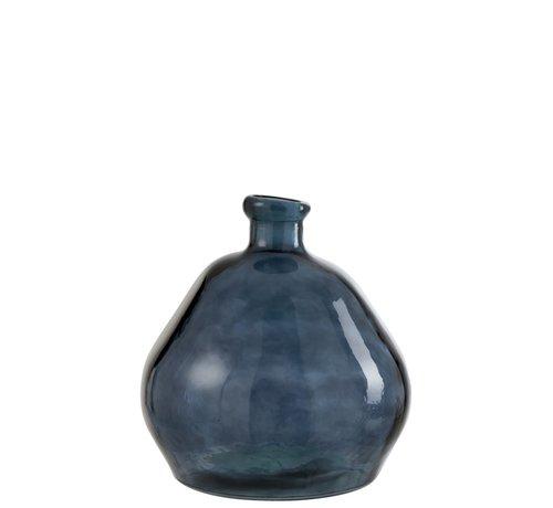 J-Line Bottles Vase Glass Natural Blown Blue - Large