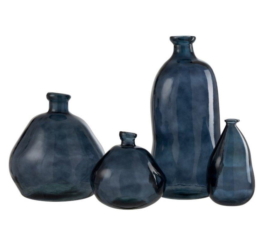Bottles Vase Glass Natural Blown Blue - Large