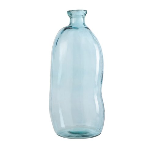 J -Line Bottles Vase Tall Glass Natural Blown Light Blue - Large
