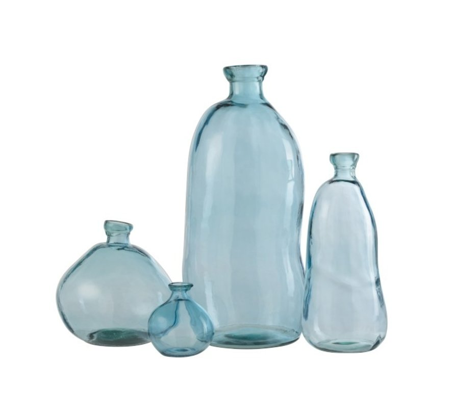 Bottles Vase Tall Glass Natural Blown Light Blue - Large
