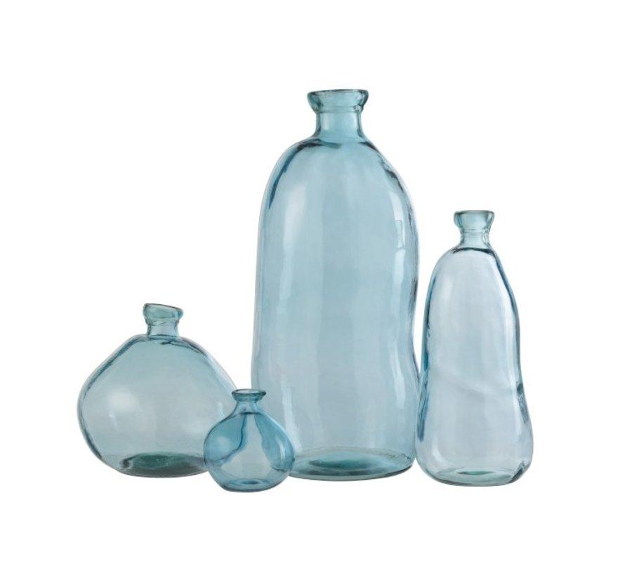 Flessen Vaas Hoog Glas Natuurlijk Geblazen Lichtlauw - Small