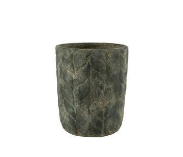 J -Line Flowerpot Cement High Leaves Gray - Small