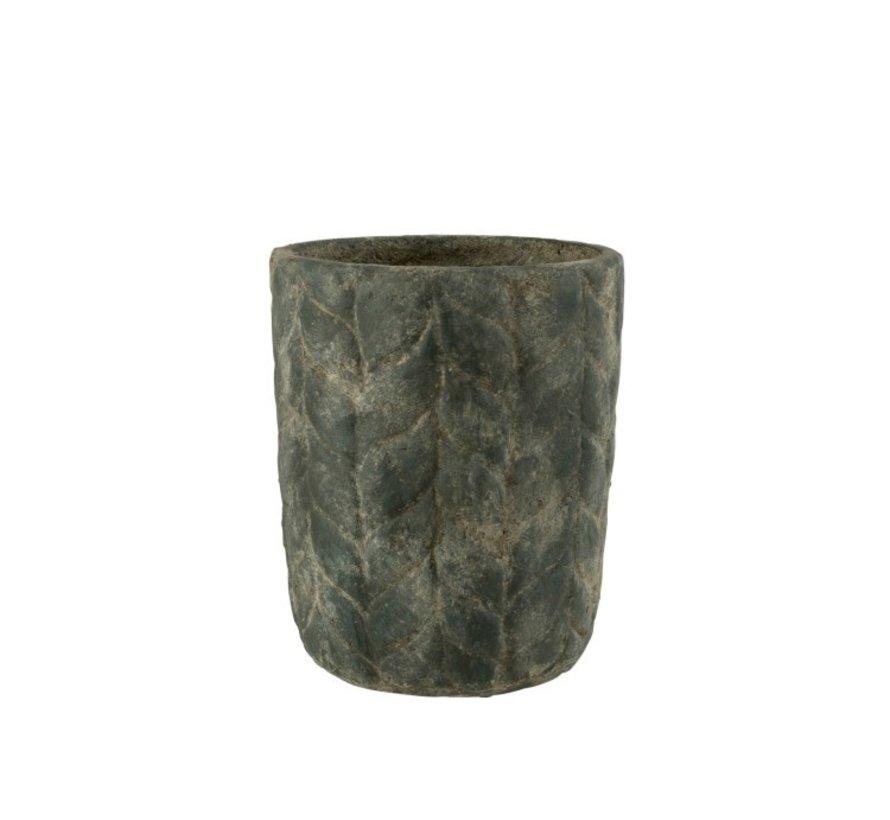 Flowerpot Cement High Leaves Gray - Small