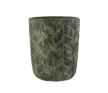 J -Line Flowerpot Cement High Leaves Gray - Large