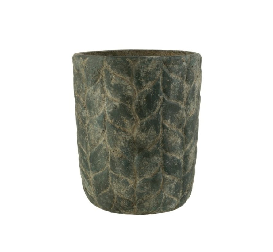 Flowerpot Cement High Leaves Gray - Large