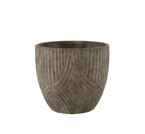 J -Line Flowerpot Round Cement Uneven Pattern Gray - Small