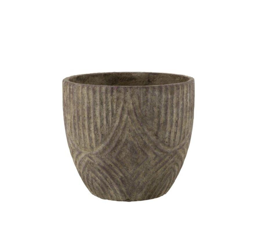 Bloempot Rond Cement Oneffen Patroon Grijs - Small