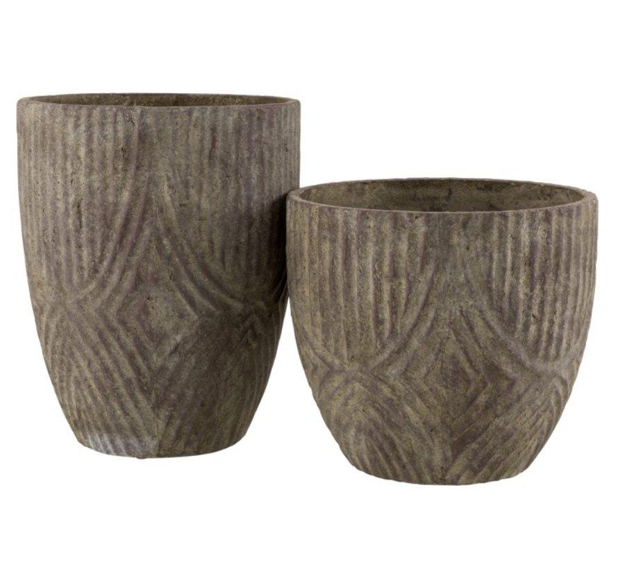 Flowerpot Round Cement Uneven Pattern Gray - Small