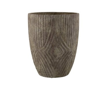 J -Line Flowerpot High Cement Uneven Pattern Gray - Large