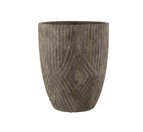 J -Line Bloempot Hoog Cement Oneffen Patroon Grijs - Large