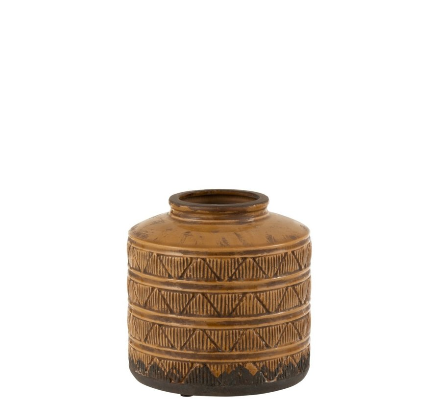 Vaas Laag Aardewerk Patronen Marroc Bruin - Small