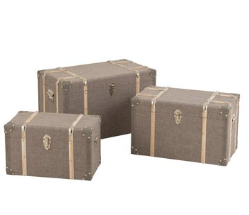 J -Line Storage Cases Rectangle Wood Textile Metal Clasps - Gray