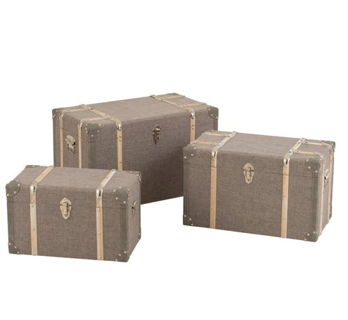 J-Line Storage Cases Rectangle Wood Clasps - Gray