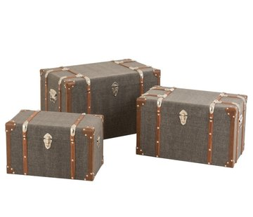 J -Line Storage cases Rectangle Wood Textile Metal Brown - Dark gray