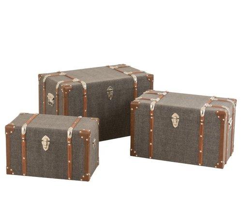 J -Line Storage cases Rectangle Wood Textile Metal Brown - Dark gray
