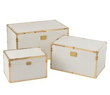 J -Line Storage cases Rectangle Wood Textile Metal White - Gold