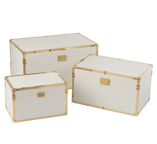 J -Line Storage cases Rectangle Wood Textile Metal White - Gold