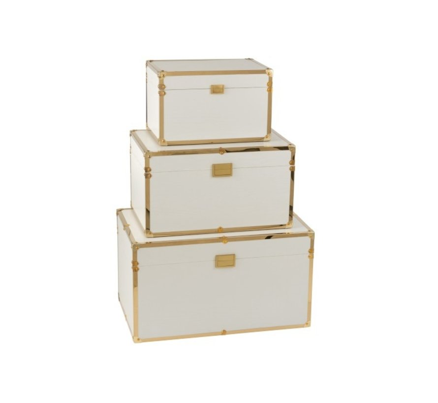 Storage cases Rectangle Wood Textile Metal White - Gold