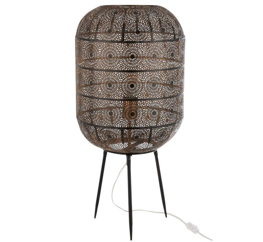 Table Lamp On Foot Oriental Patterns Metal - Black