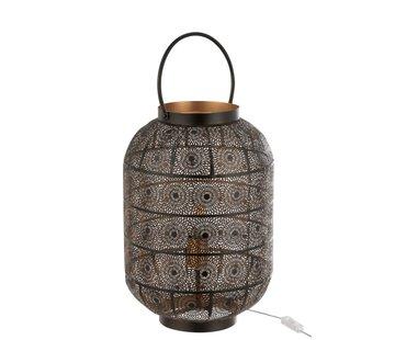 J-Line Table lamp Lantern Oriental Patterns Metal - Black