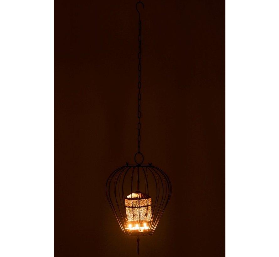 Tealight holder Oriental Pendant Metal - Black