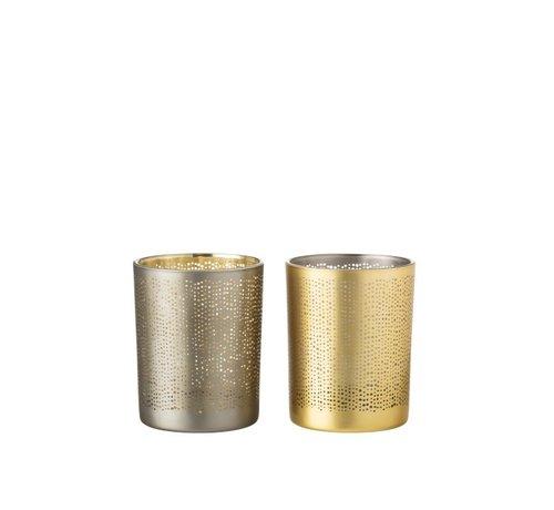 J -Line Theelichthouders Glas Cilinder Gespikkeld Zilver Goud - Medium