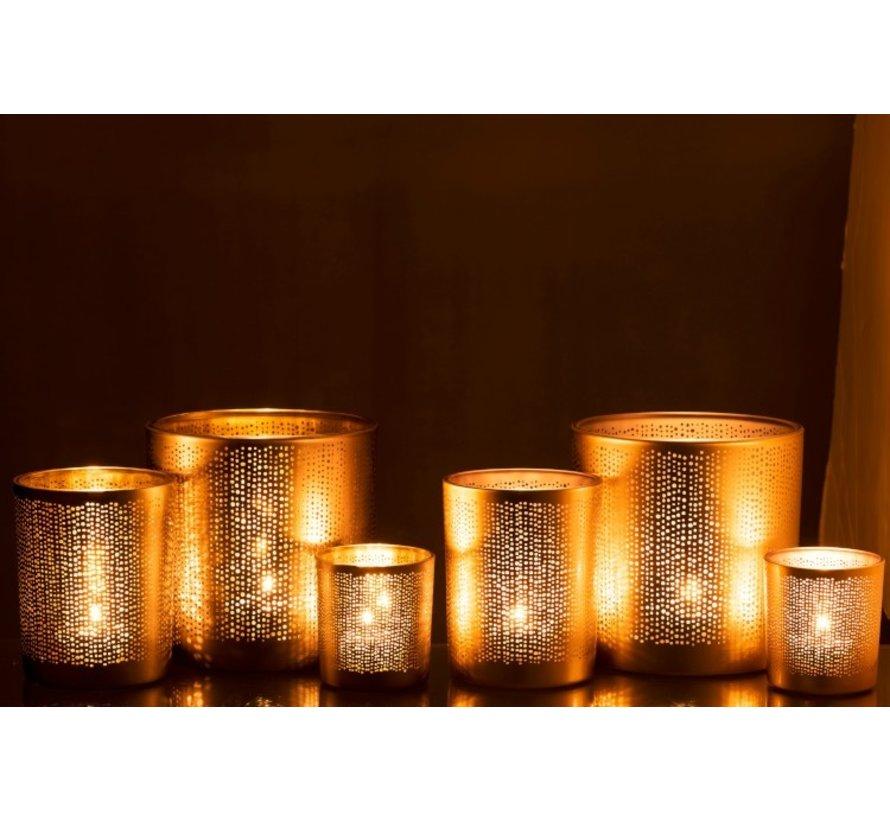 Theelichthouders Glas Cilinder Gespikkeld Zilver Goud - Medium