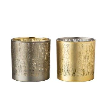 J -Line Theelichthouders Glas Cilinder Gespikkeld Zilver Goud - Large