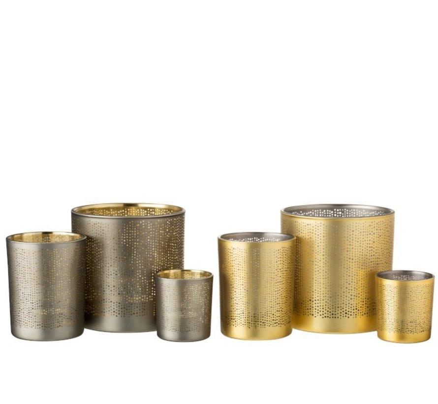 Theelichthouders Glas Cilinder Gespikkeld Zilver Goud - Large