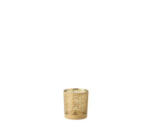 J-Line  Theelichthouder Glas Cilinder Oosters Geel Goud - Small