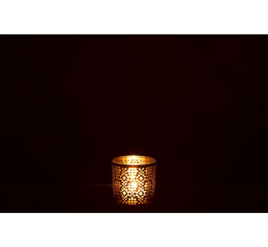 Theelichthouder Glas Cilinder Oosters Geel Goud - Small