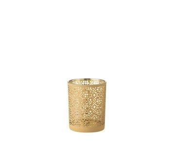 J -Line Theelichthouder Glas Cilinder Oosters Geel Goud - Medium