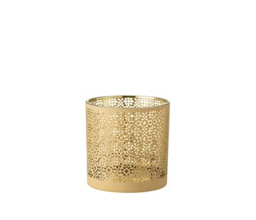 J -Line Tealight Holder Glass Cylinder Oriental Yellow Gold - Large